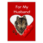 For My Husband Watercolor Wolf Valentine Card