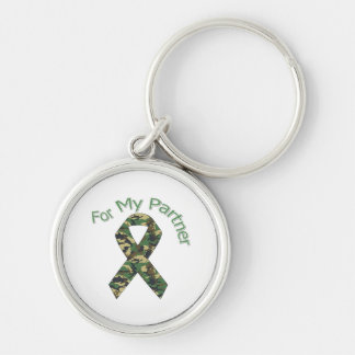For My Partner Military Ribbon Silver-Colored Round Key Ring