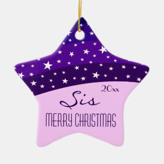 For My Sister-Whimsical Plum Sky Star Christmas Christmas Ornament