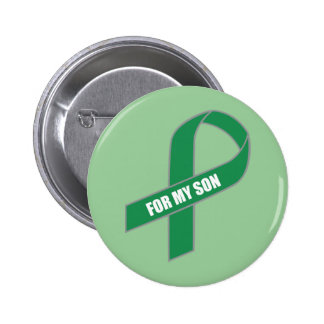 For My Son (Green Ribbon) 6 Cm Round Badge
