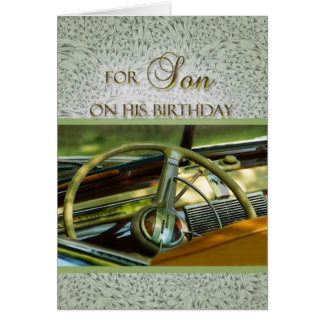 For My Son on His Birthday Classic Car Greeting Card