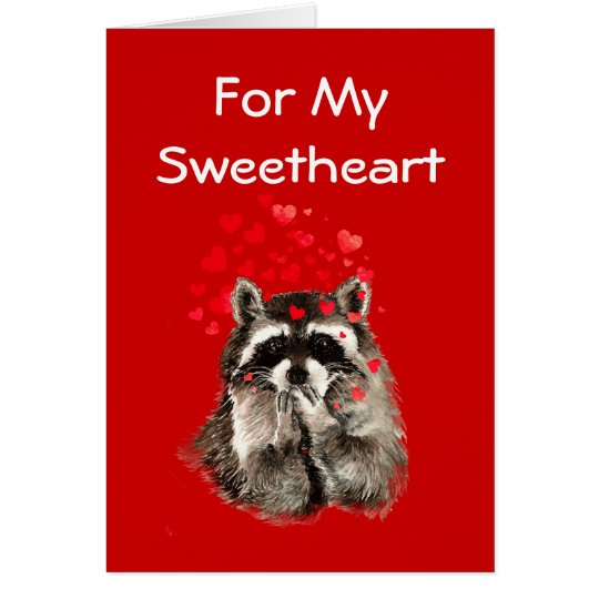 For My Sweetheart Racoon Kisses Valentine Card
