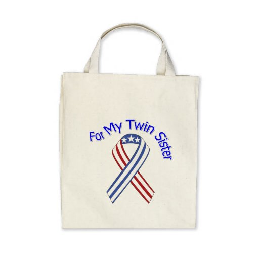 For My Twin Sister Military Patriotic Canvas Bag