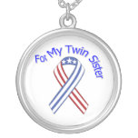 For My Twin Sister Military Patriotic Custom Necklace