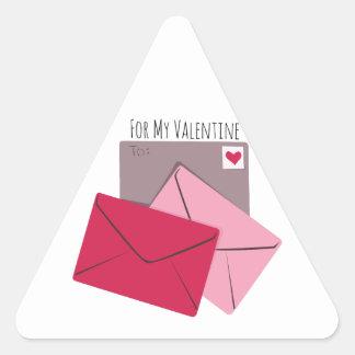For My Valentine Triangle Sticker
