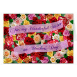 For my Wonderful Sister on Mother's Day - Roses Greeting Card