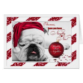 for Neighbor at Christmas Bulldog Santa Hat Greeting Card
