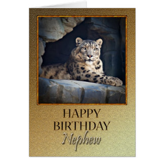 For Nephew a Birthday with a snow leopard Greeting Card