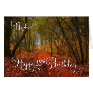 for Nephew's 18th Birthday - Woodland Path Greeting Card