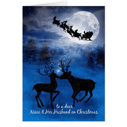 for Niece and Husband Kissing Reindeer Christmas Card
