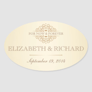 For Now & Forever Vintage Wedding Labels Oval Sticker