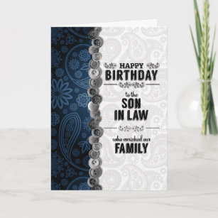 For Our Son In Law On His Birthday Blue Paisley Card