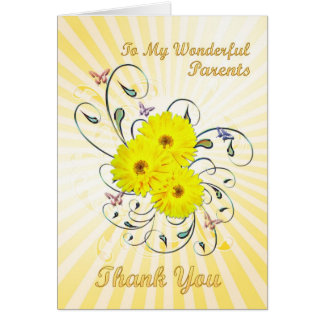 For parents Thank you card with yellow flowers