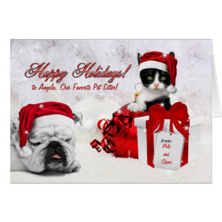 for Pet Sitter at Christmas Cat and Dog Card