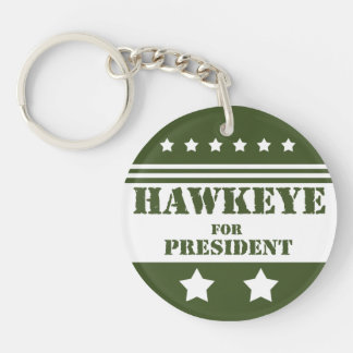For President Hawkeye Single-Sided Round Acrylic Key Ring