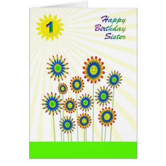 For sister age 1, a happy flowers card