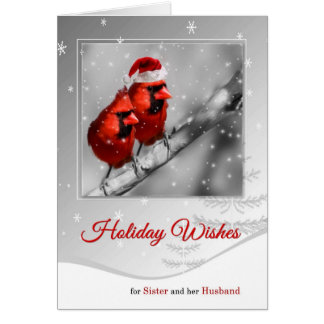 for Sister and Husband Christmas Red Lovebirds Card