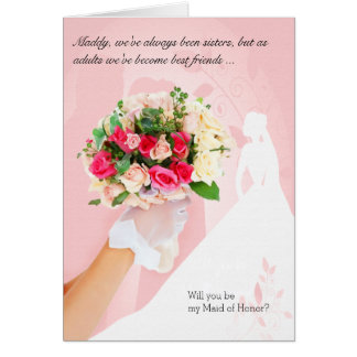 for Sister - Pink Maid of Honor Bridal Card