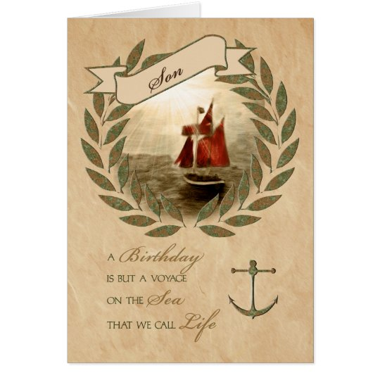 for Son a Nautical Sailing Themed Birthday Card