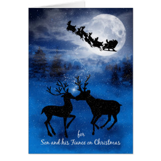 for Son and Fiance Christmas Kissing Reindeer Card