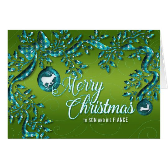 for Son and His Fiance Green Turquoise Christmas