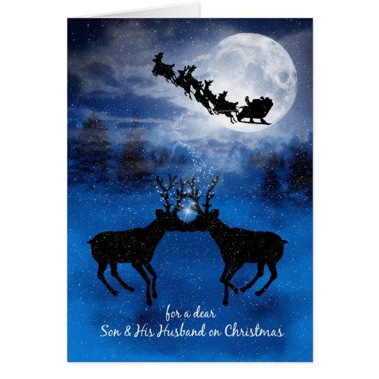 for Son and Husband Kissing Reindeer Christmas Card