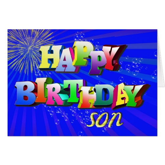 For son, Bright letters and bubbles birthday card