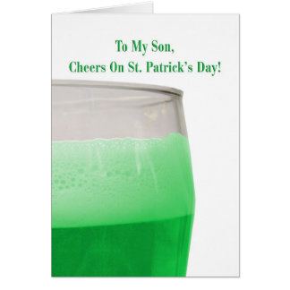 For Son, green beer for St. Patrick's Day Greeting Card