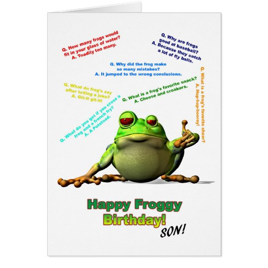 For Son Lots of Froggy Jokes Birthday Card