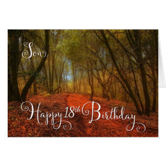 for Son's 18th Birthday - Woodland Path Greeting Card