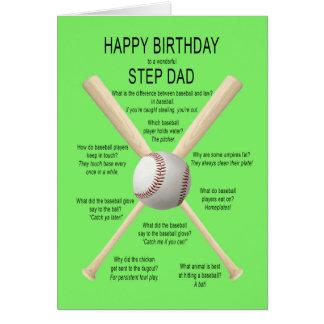 For step dad, birthday baseball jokes card