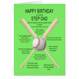 For step dad, birthday baseball jokes greeting card