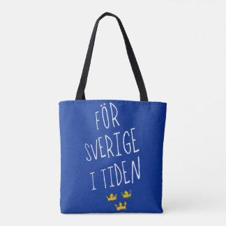 För Sverige i Tiden Grocery Bag, Swedish Motto Tote Bag