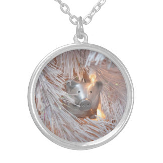 For the love of pigs silver plated necklace
