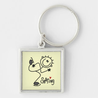 For the Love of Skating Tshirts and Gifts Silver-Colored Square Key Ring