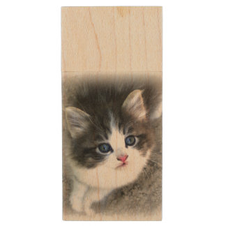 For The Love of Stray Cats Wood USB Flash Drive