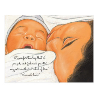 For this Boy I Prayed~Just Born Newborn Postcard