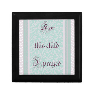 For this child I prayed- green gray Small Square Gift Box