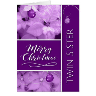for Twin Sister Christmas Purple Poinsetta Card