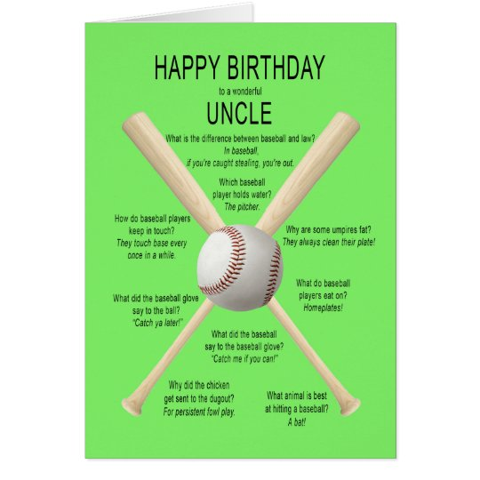 For Uncle, birthday baseball jokes Card