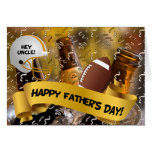 for Uncle | Father's Day | Football and Beer Greeting Card
