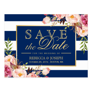 (for USPS) Floral Navy Blue Stripes Save the Date Postcard