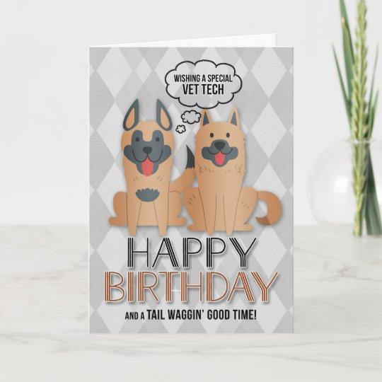 For Vet Tech Birthday Cute Cartoon Dogs Card