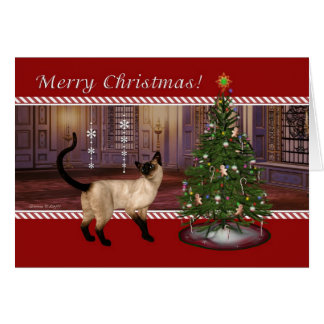 For Veterinarian Siamese Cat Merry Christmas Card