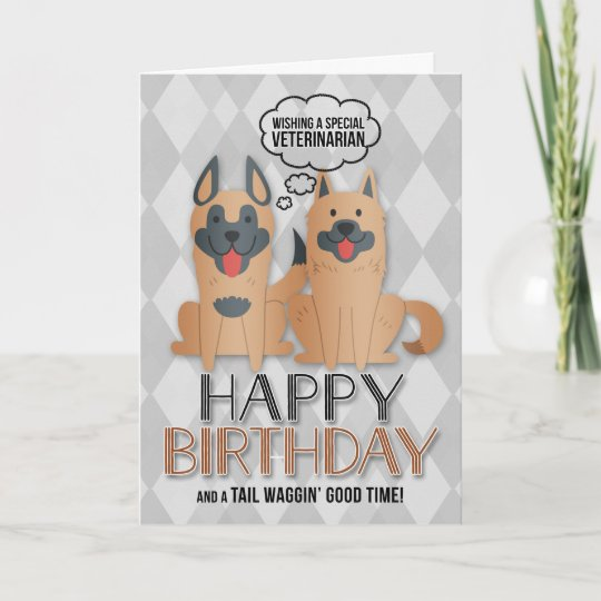 For Veterinarians Birthday Cute Cartoon Dogs Card