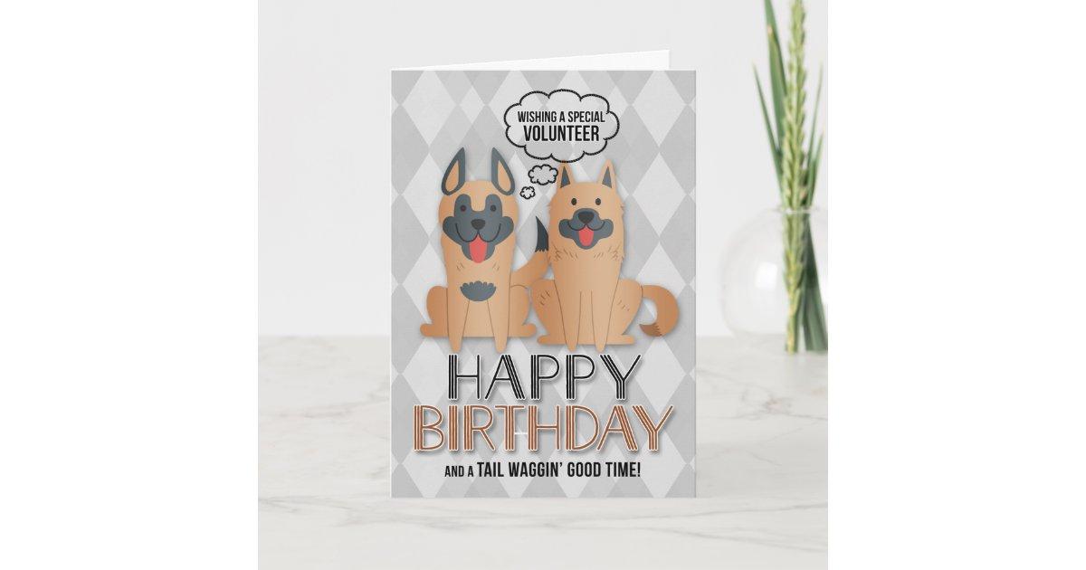 For Volunteers Birthday Cute Cartoon Dogs Card