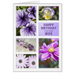 For Wife,Lavender hues floral birthday card