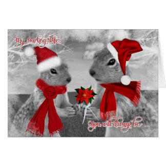 for Wife Romantic Christmas | Squirrel Love Greeting Cards