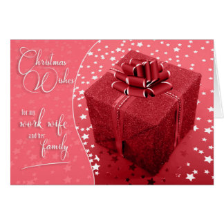 for Work Wife in Shades of Pink Christmas Card