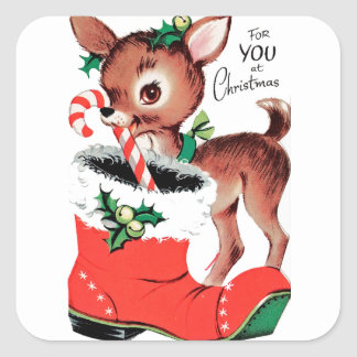 For You at Christmas Reindeer Square Sticker